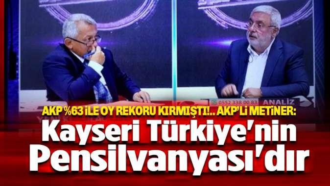 AKPli Metiner: Kayseri Türkiyenin Pensilvanyasıdır