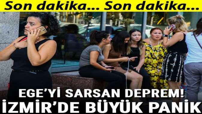 Egeyi sarsan deprem! İzmirde büyük panik yaşandı....
