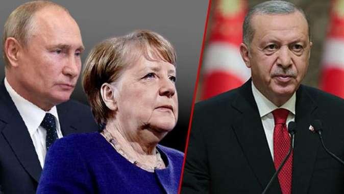 Erdoğan, Putin ve Merkel ile görüştü