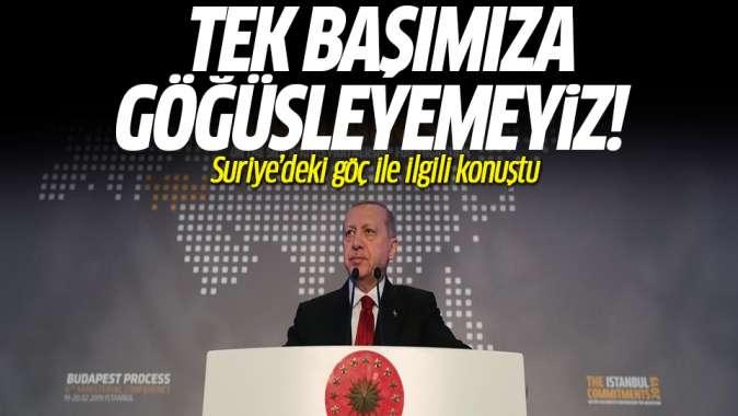 Erdoğan'dan göç açıklaması! Tek başımıza...