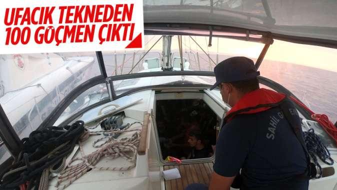 İzmir açıklarında yelkenli teknede 100 kaçak göçmen yakalandı