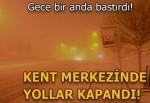 Eskişehir'de kar nedeniyle yolları kapadı