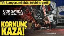 Kırıkkale'de korkunç kaza! TIR, kamyon, minibüs birbirine girdi! Ölü ve yaralılar var.