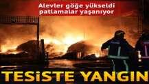 Tesiste yangın... Alevler göğe yükseldi, patlamalar yaşanıyor