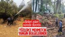 TSK pek çok bölgede yangınlara karşı desteklerini sürdürüyor